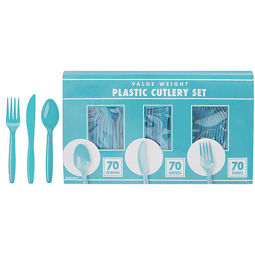 Big Party Pack Caribbean Blue Value Plastic Cutlery Set 210ct Image #1