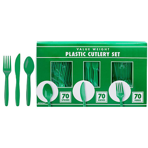 Big Party Pack Festive Green Value Plastic Cutlery Set 210ct Image #1