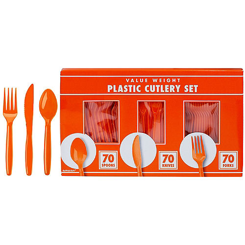 Big Party Pack Orange Value Plastic Cutlery Set 210ct Image #1