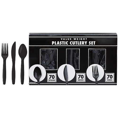 Big Party Pack Black Value Plastic Cutlery Set 210ct Image #1