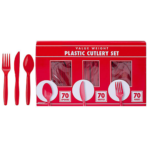 Big Party Pack Red Value Plastic Cutlery Set 210ct Image #1