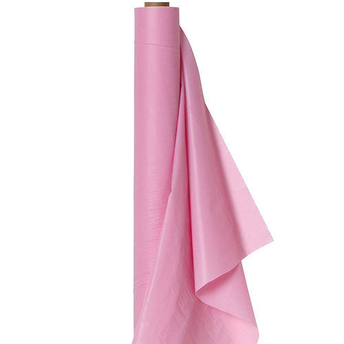 Pink Plastic Table Cover Roll Image #1