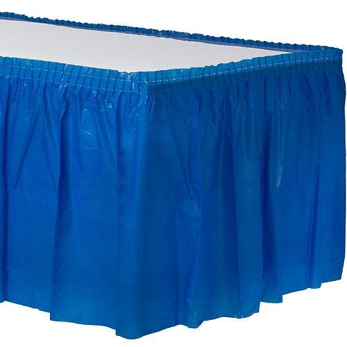 Royal Blue Plastic Table Skirt Image #1