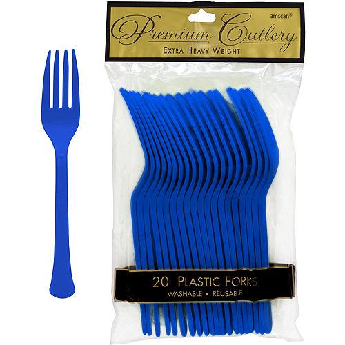Royal Blue Premium Plastic Forks 20ct Image #1