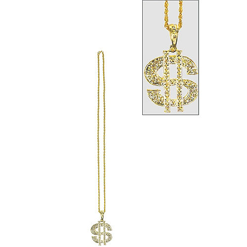 Gold Dollar Sign Pendant Bead Necklace Image #1