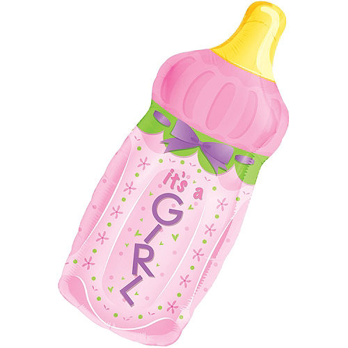 It's a Girl Baby Bottle Baby Shower Balloon Image #1