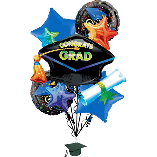 Graduation Balloon Bouquet 6pc - Grad Celebration Image #1