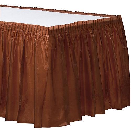Chocolate Brown Plastic Table Skirt Image #1