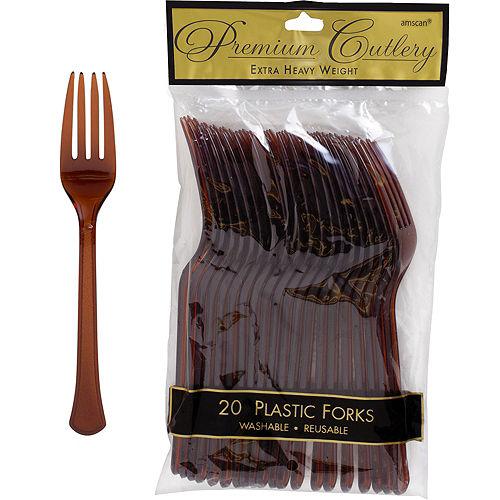 Chocolate Brown Premium Plastic Forks 20ct Image #1