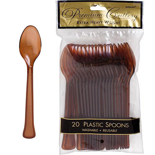 Chocolate Brown Premium Plastic Spoons 20ct Image #1