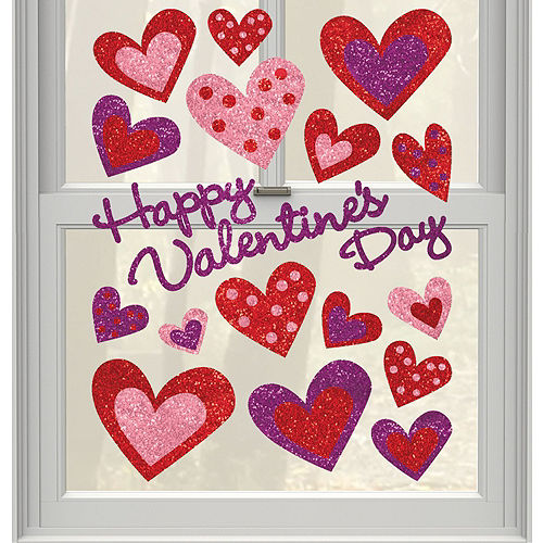 Glitter Heart Cling Decals 17ct Image #1