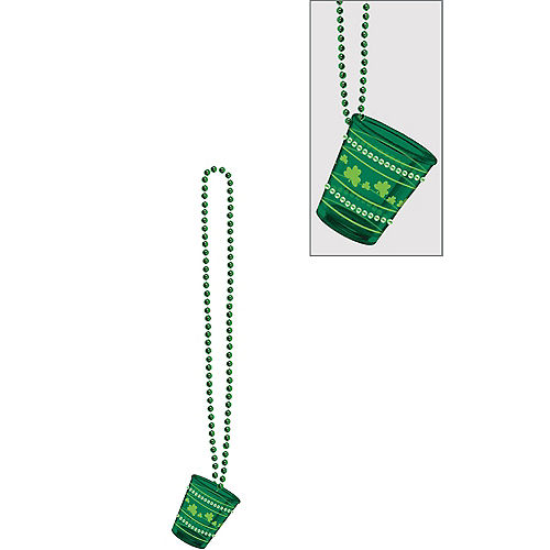 St. Patrick's Day Bling Shot Glass Bead Necklace Image #1