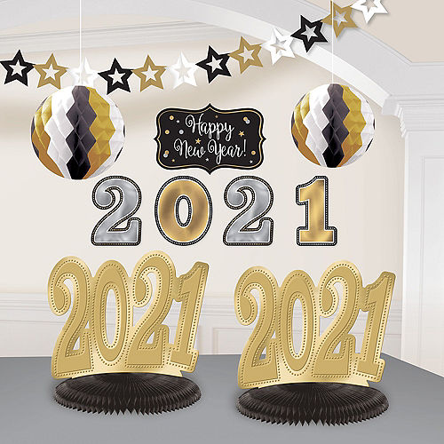 Black, Silver & Gold 2021 New Year's Room Decorating Kit, 10pc Image #1