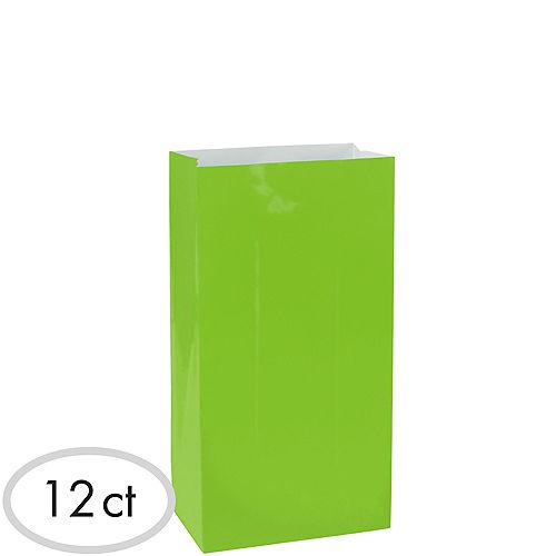 Medium Kiwi Green Paper Treat Bags 12ct Image #1