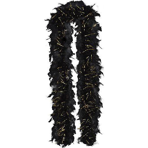 Gold Tinsel Black Feather Boa Image #1