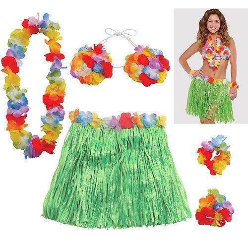 Adult Hula Skirt Kit 5pc Image #1