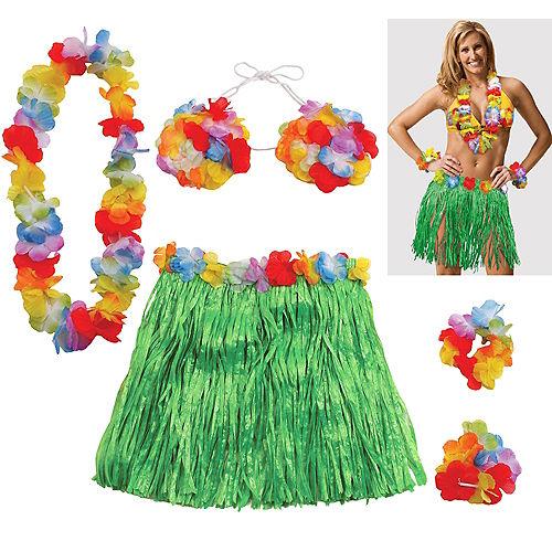 Adult Large Hula Skirt Kit 5pc Image #1