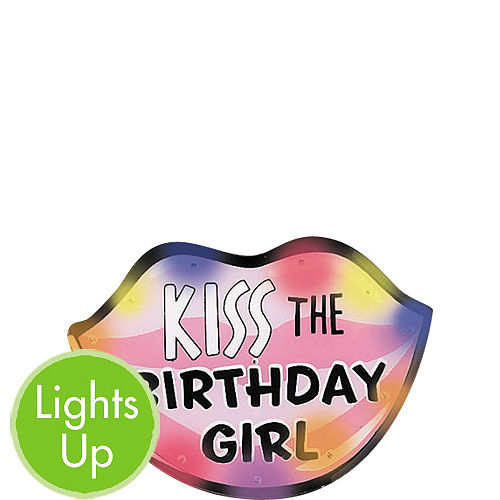 Light-Up Kiss the Birthday Girl Button Image #1