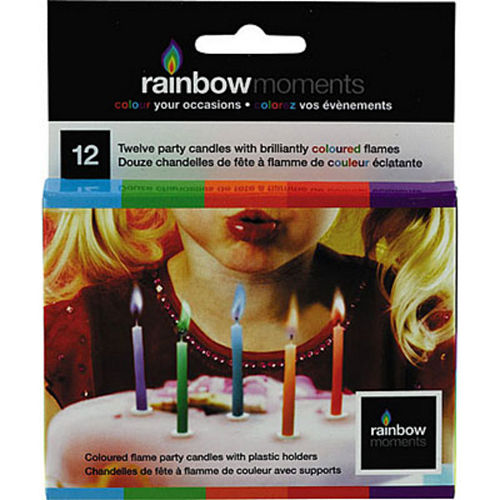 Multicolor Colored Flame Candles 12ct Image #1