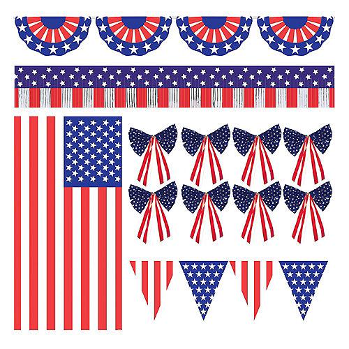 Patriotic American Flag Outdoor Decorating Kit 12pc Image #1