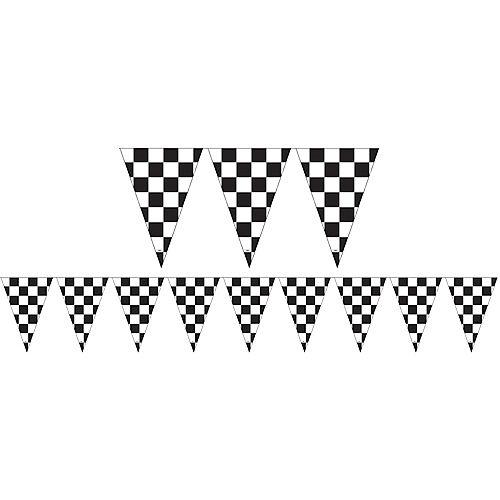 Outdoor Black & White Checkered Flag Pennant Banner Image #1