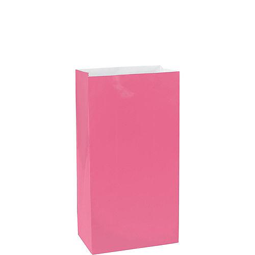 Medium Bright Pink Paper Treat Bags 12ct Image #1