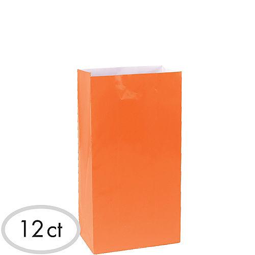 Medium Orange Paper Treat Bags 12ct Image #1