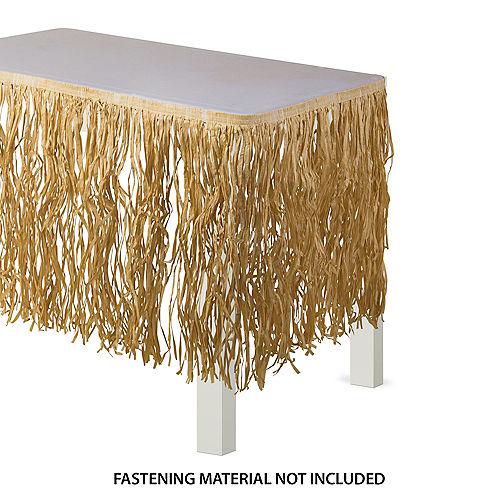 Tan Raffia Grass Fringe Table Skirt, 9ft x 28in Image #1