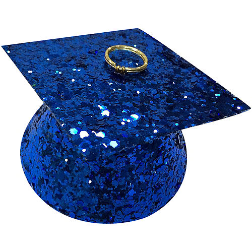 Royal Blue Glitter Graduation Balloon Weight Image #1