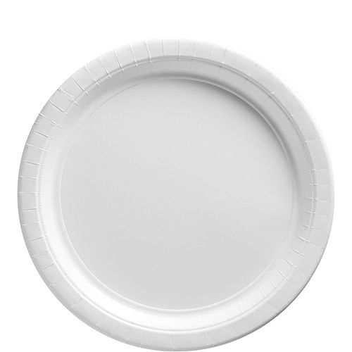 White Paper Lunch Plates, 9in, 50ct Image #1