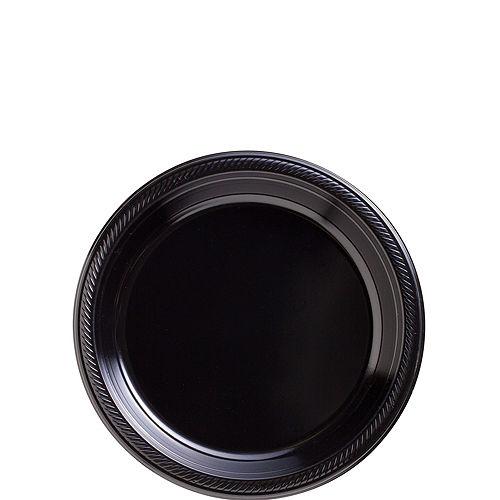 Black Plastic Dessert Plates, 7in, 50ct Image #1