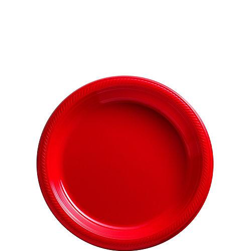 Red Plastic Dessert Plates, 7in, 50ct Image #1