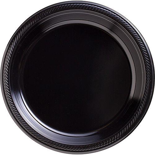 Black Plastic Dinner Plates, 10.25in, 50ct Image #1