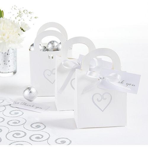 White Heart Wedding Favor Bag Kit Image #1
