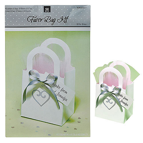 White Heart Wedding Favor Bag Kit Image #2