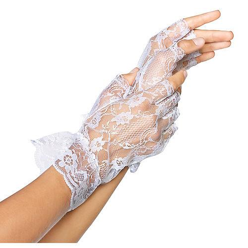 White Lace Fingerless Gloves Image #1