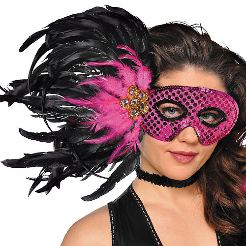 Pink & Black Sequin Feather Masquerade Mask Image #2