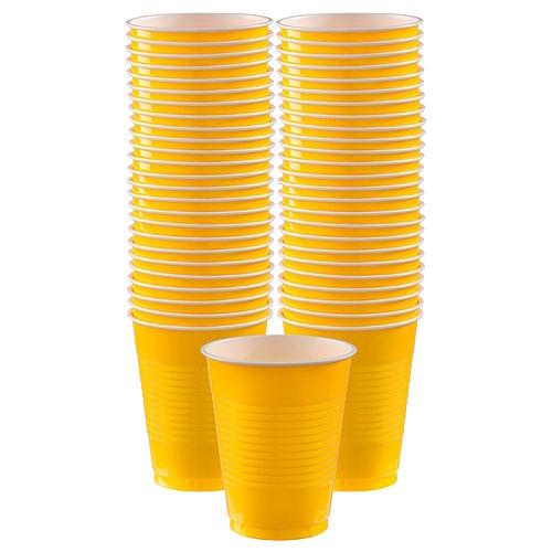 Sunshine Yellow Plastic Cups, 16oz, 50ct Image #1