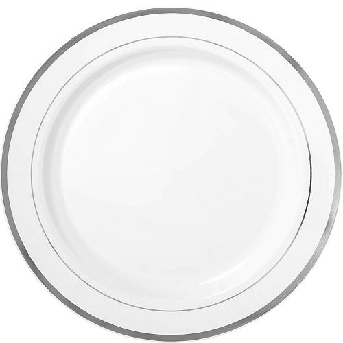 White Silver-Trimmed Premium Plastic Dinner Plates 10ct Image #1