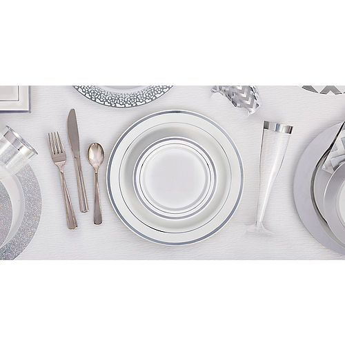 White Silver-Trimmed Premium Plastic Dinner Plates 10ct Image #3