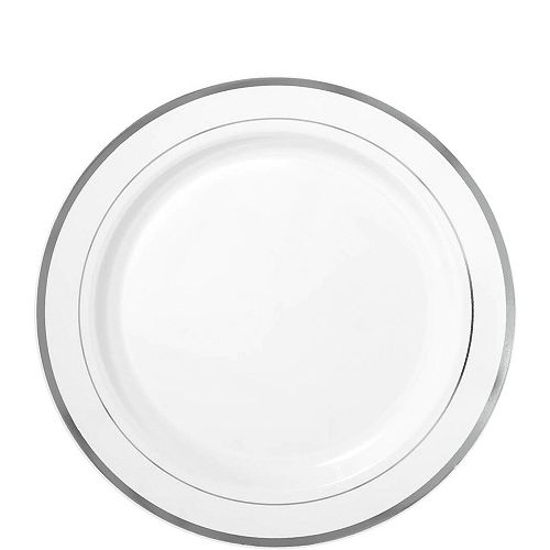 White Silver-Trimmed Premium Plastic Lunch Plates 20ct Image #1