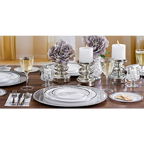 White Silver-Trimmed Premium Plastic Lunch Plates 20ct Image #2