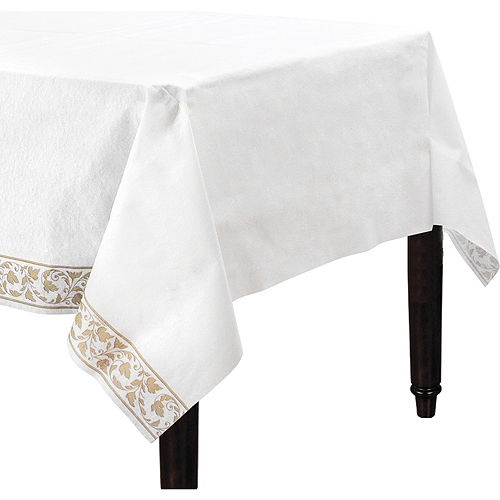 White Gold Scroll Premium Paper Table Cover Image #1