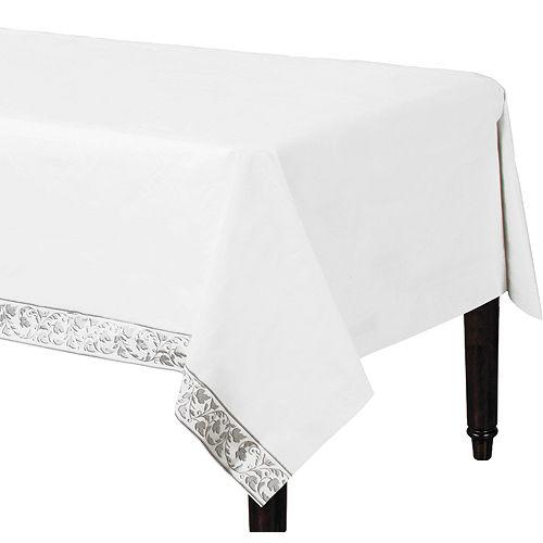 White Silver Scroll Premium Paper Table Cover Image #1