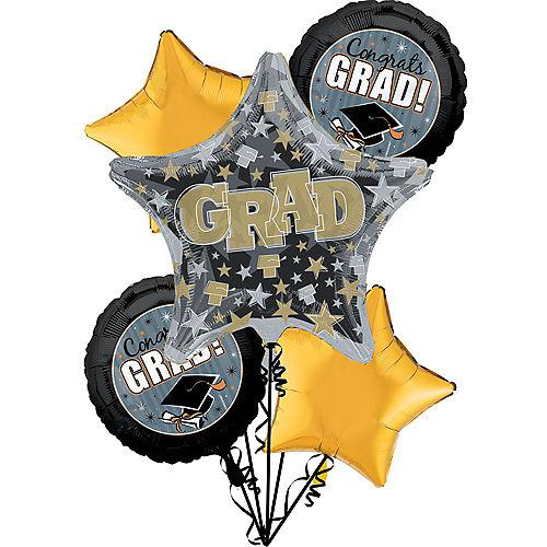 Grad Honors Graduation Foil Balloon Bouquet, 5pc Image #1