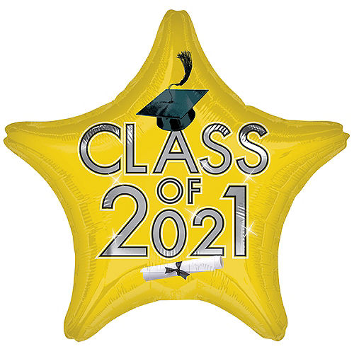Yellow Class of 2021 Graduation Foil Star Balloon, 19in Image #1
