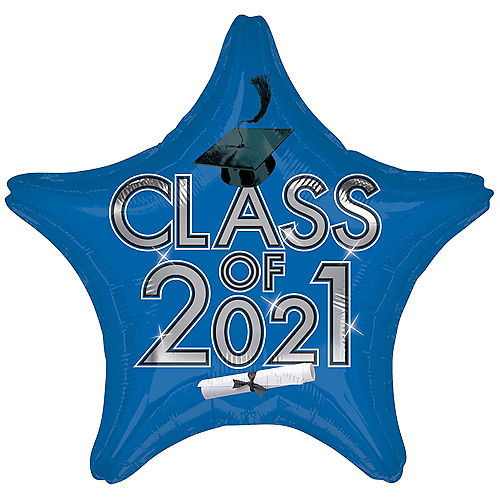 Blue Class of 2021 Graduation Foil Star Balloon, 19in Image #1