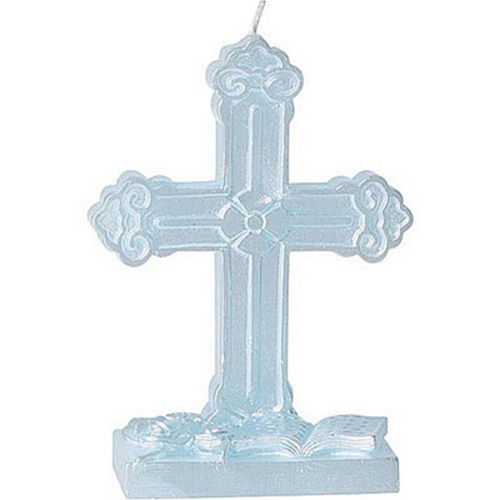 Blue Cross Mold Candle Image #1