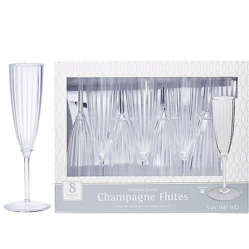 CLEAR Premium Plastic Champagne Flutes 8ct Image #1