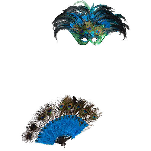 Peacock Masquerade Mask & Fan Image #2